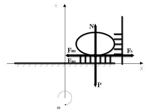 Hình 3: Lực tác dụng khi mâm có gắn các mút cao su